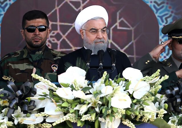 Iranian President Hassan Rouhani attends an armed forces parade in Tehran, Iran, September 22, 2017.