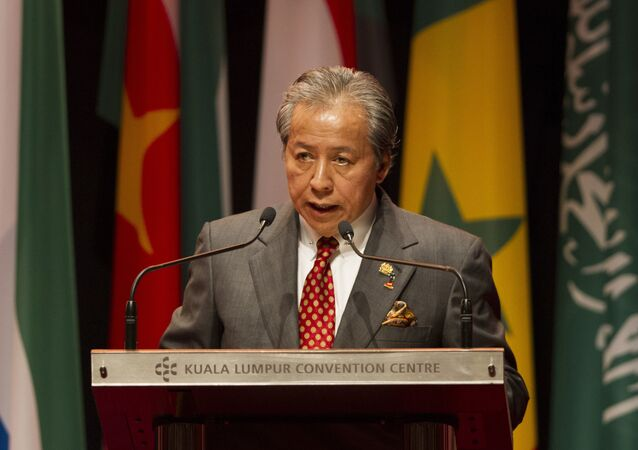 Malaysian Foreign Minister Anifah Aman speaks during the opening of an extraordinary session of the Organization of Islamic Cooperation foreign ministers on the situation of the Rohingya Muslim Minority in Myanmar at a conference center in Kuala Lumpur, Malaysia, Thursday, Jan. 19, 2017.