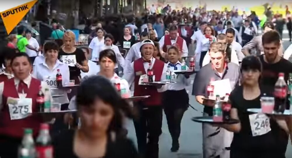 Waiter Race In Buenos Aires