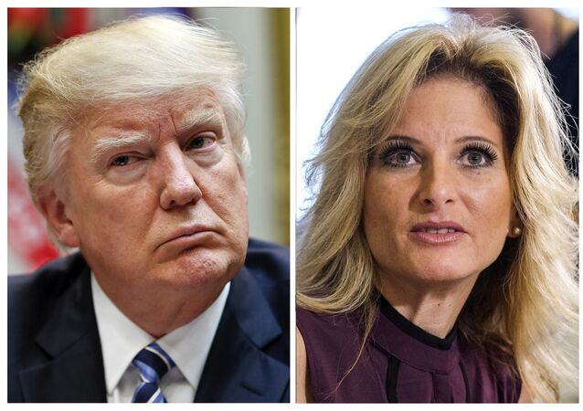 In this combination photo, President Donald Trump, left, listens during a meeting on healthcare in the Roosevelt Room of the White House, on March 13, 2017 in Washington and Summer Zervos, a former contestant on The Apprentice appears at a news conference in Los Angeles on Oct. 14, 2016, to announce claims that Trump made unwanted sexual contact with her at a Beverly Hills hotel in 2007