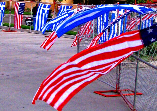 Greek and American flags