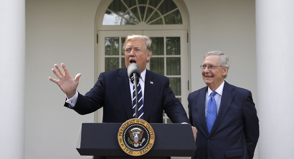 President Donald Trump answers questions with Senate Majority Leader Mitch McConnell, R-Ky., in the Rose Garden after their meeting at the White House, Monday, 16 October 2017, in Washington.