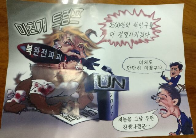 An anti-Trump leaflet believed to come from North Korea by balloon is pictured in this undated handout photo released by NK News on October 16, 2017. The texts in Korean read Mad dog Trump (top), 'Will kill 25,000,000 people in North Korea (top R), the text on the bomb reads Destroy North Korea completely, the two comments at right read: He is crazy and The war will break out if we leave him (bottom).