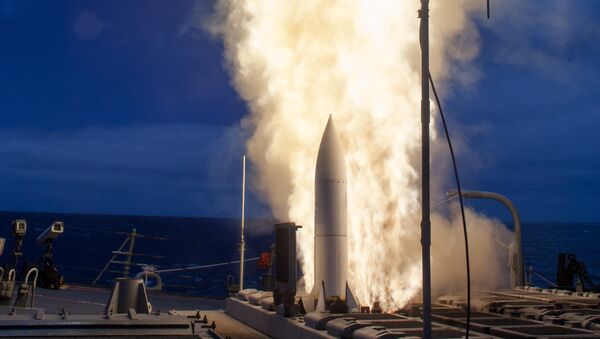 (File) The Arleigh-Burke class guided-missile destroyer USS John Paul Jones (DDG 53) launches a Standard Missile (SM) 6 during a live-fire test of the ship's aegis weapons system - Sputnik International