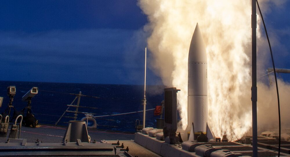 (File) The Arleigh-Burke class guided-missile destroyer USS John Paul Jones (DDG 53) launches a Standard Missile (SM) 6 during a live-fire test of the ship's aegis weapons system