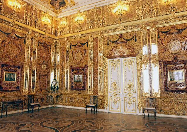 The famous Amber Room in Catherine Palace near St. Petersburg, Pushkin. (File)