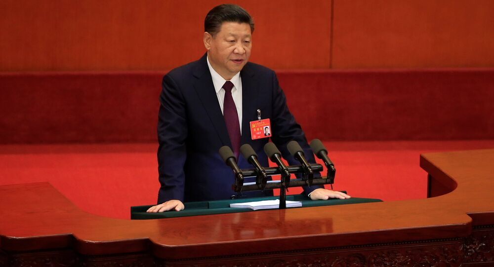 China's President Xi Jinping speaks during the opening session of the 19th National Congress of the Communist Party of China at the Great Hall of the People in Beijing, China October 18, 2017,