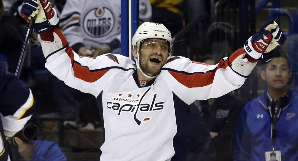 In this Saturday, April 9, 2016 file photo, Washington Capitals' Alex Ovechkin, of Russia, celebrates after scoring his third goal of an NHL hockey game during the third period against the St. Louis Blues in St. Louis