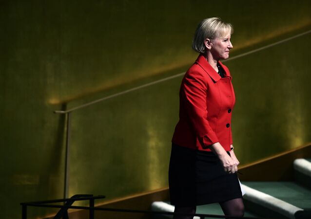 Sweden's Foreign Minister Margot Wallstrom arrives to address the 72nd Session of the United Nations General assembly at the UN headquarters in New York on September 22, 2017