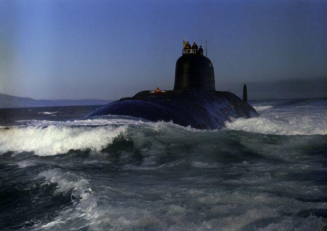 Soviet nuclear submarine 50 Let SSSR sets off for a mission.