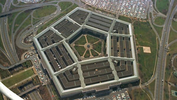 This is an aerial view of the five-sided Pentagon building, headquarters of the United States Department of Defense, in Arlington, Va., in 1975 - Sputnik International
