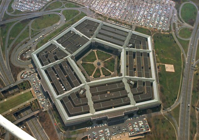 This is an aerial view of the five-sided Pentagon building, headquarters of the United States Department of Defense, in Arlington, Va., in 1975