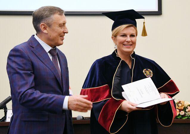 Rector of the Plekhanov Russian University of Economics Victor Grishin and President of Croatia Kolinda Grabar-Kitarovic at her Honorary Doctoral Degree ceremony in Moscow