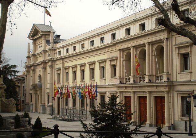 Facade of Palace of Senate of Spain. Madrid. Spain