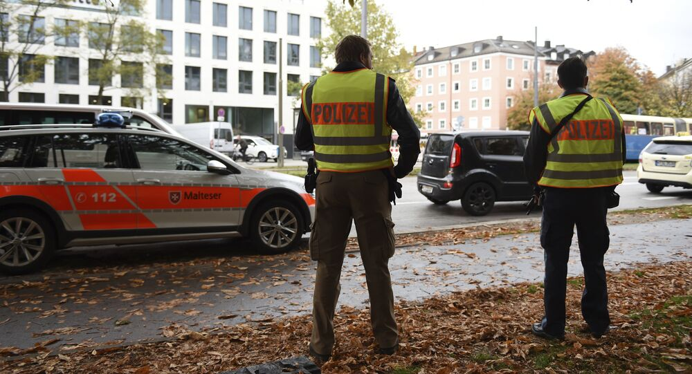Police secure the area at Rosenheimer Platz square in Munich, Germany, Saturday, Oct. 21, 2017