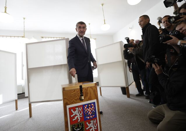 Czech billionaire and leader of the ANO 2011 political movement Andrej Babis casts his vote during the parliamentary elections in Pruhonice, Czech Republic, Friday, Oct. 20, 2017