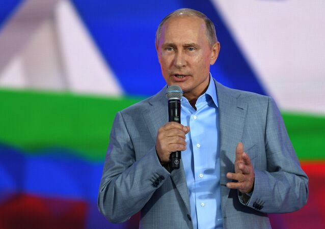 October 21, 2017. Russian President Vladimir Putin speaks at the Russia show at the 19th World Festival of Youth and Students