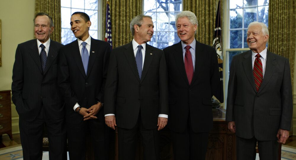 From left: Former US Presidents George H.W. Bush, Barack Obama, George W. Bush, Bill Clinton and Jimmy Carter at the White House in Washington, Jan. 7, 2009.