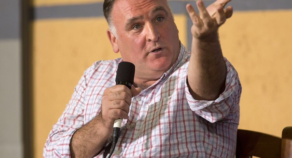 In this March 21, 2016, file photo Spanish-American chef Jose Andres answers questions during a panel discussion at an event on entrepreneurship at La Cerveceria, in Havana, Cuba. Andres has settled his dispute with The Trump Organization after backing out of a plan to open a restaurant in Washington's Trump hotel. Andres' ThinkFoodGroup and The Trump Organization issued a statement Friday, April 7, 2017, saying the lawsuit has been settled.
