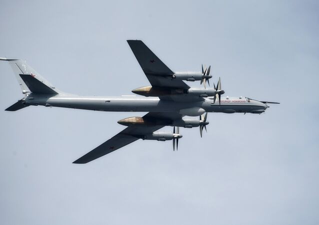 The Alexander Mozhaisky Tu-95 strategic bomber and missile platform during the Main Naval Parade to mark Russian Navy Day in St. Petersburg
