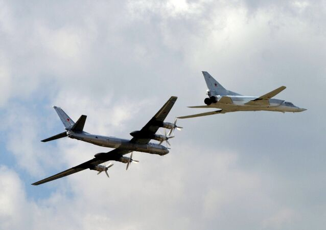 TU 95 and TU 22 strategic bombers make a demonstration flight