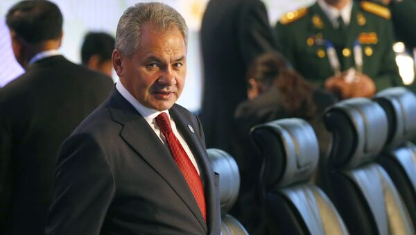 Russian Defense Minister Gen. Sergei Shoigu prepares to take his seat for the two-day ASEAN Defense Ministers' Meeting and its Dialogue Partners Tuesday, Oct. 24, 2017 at Clark, Pampanga province, north of Manila, Philippine - Sputnik International
