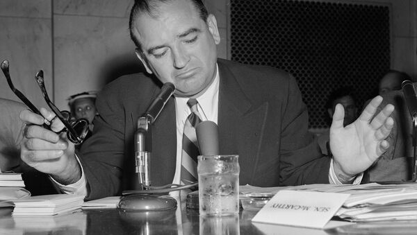 Sen. Joe McCarthy gestures as he indicates he is not impressed with an answer by Army Secretary Robert Stevens during a hearing, May 3, 1954. - Sputnik International