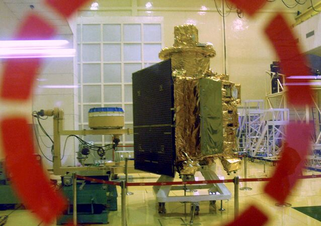 (File) In this Sept. 18, 2008 file photo, The Chandrayaan 1 spacecraft, India's first unmanned mission to the Moon, is seen as it is unveiled at the Indian Space Research Organization (ISRO) Satellite Center in Bangalore, India