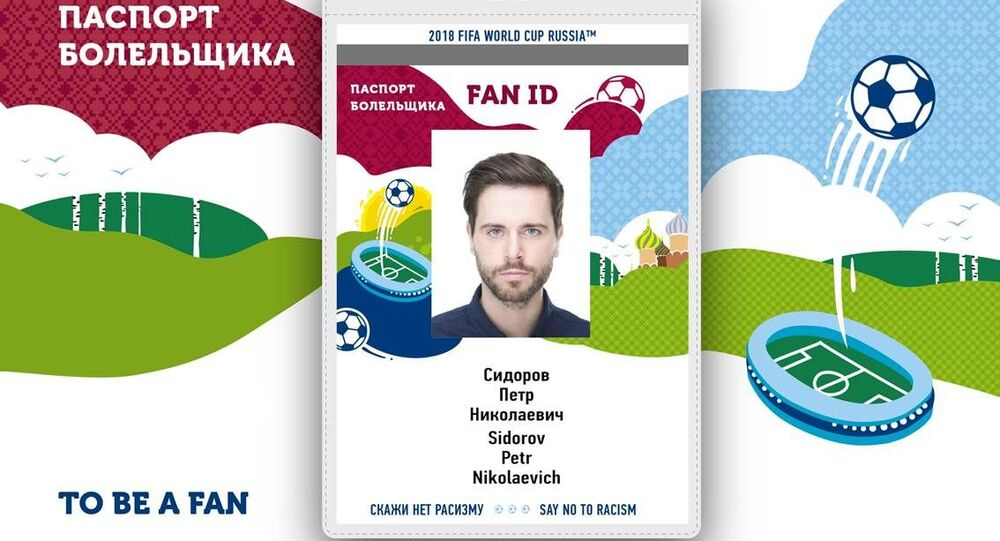 Official design of the FAN ID for the 2018 World Cup in Russia.