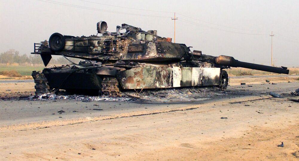 Destroyed M1A1 Abrams tank (File)