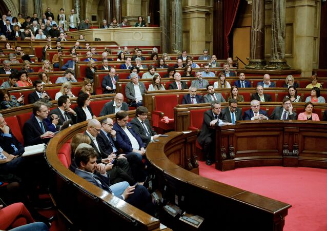 Plenary session of the Catalan Parliament. Its deputies discuss potential measures in response to the Spanish Government's decision to use the 155th Article of the Constitution and actually introduce direct rule of the autonomy from Madrid