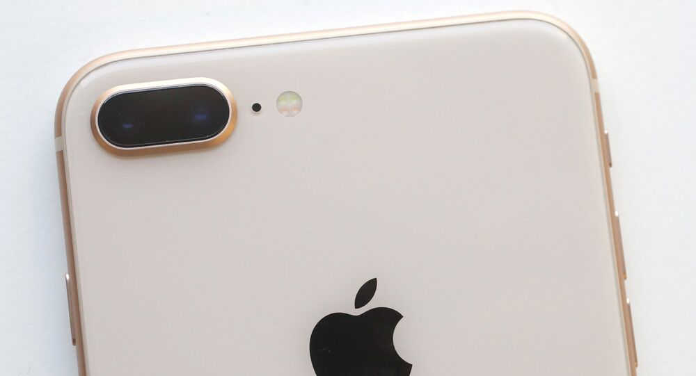 The camera, upper left, of an iPhone 8 Plus is displayed in New York