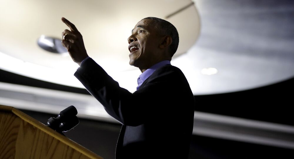 Former President Barack Obama speaks during a canvasing event for New Jersey Democratic gubernatorial nominee Phil Murphy, Thursday, Oct. 19, 2017, in Newark, N.J.