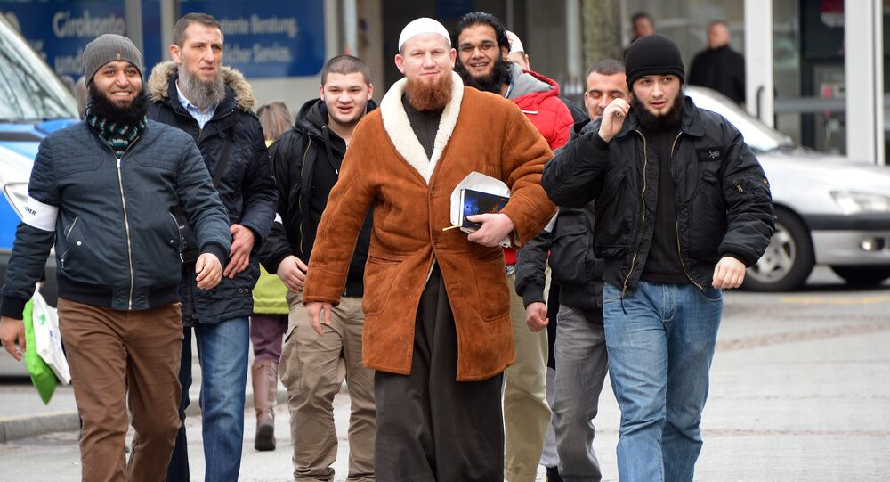 German Islamist Pierre Vogel, also known as Abu Hamza, with his followers