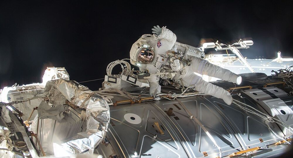 ESA (European Space Agency) astronaut Tim Peake seen during his first spacewalk