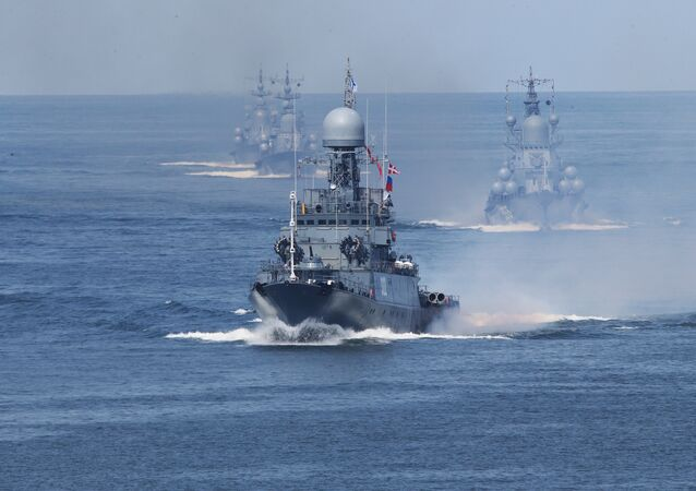 Baltic Fleet ships during the final rehearsal of the naval parade to mark Russian Navy Day. File photo