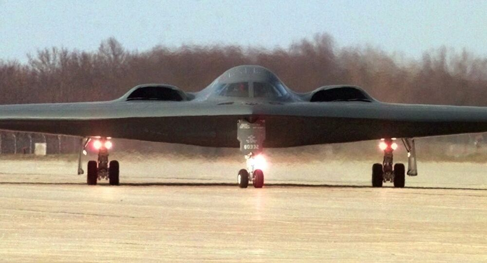 A B-2 stealth bomber taxis at Whiteman Air Force Base in Knob Noster, Mo.