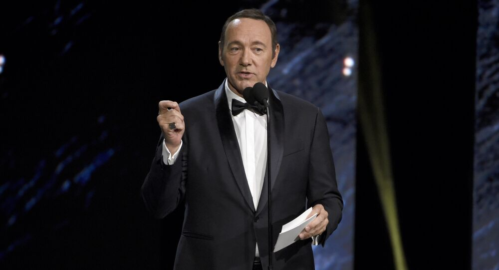 Kevin Spacey presents the award for excellence in television at the BAFTA Los Angeles Britannia Awards at the Beverly Hilton Hotel on Friday, Oct. 27, 2017, in Beverly Hills, Calif.