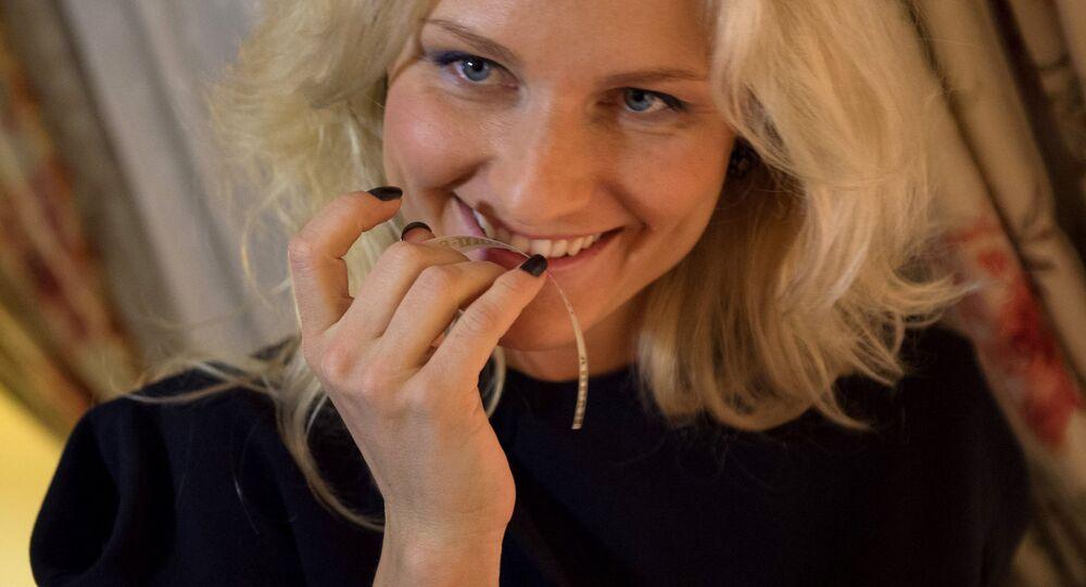 TV presenter and singer Katya Gordon at the presentation of a new Abrau-Dyurso perfume in Moscow. (File)