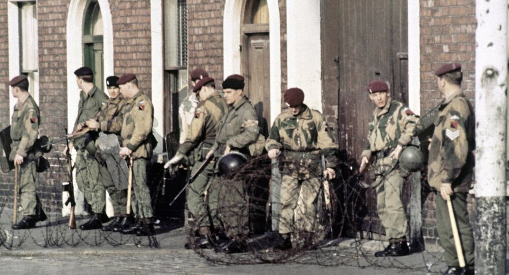 British troops patrol in Belfast, Northern Ireland in 1969, following conflict in the city.