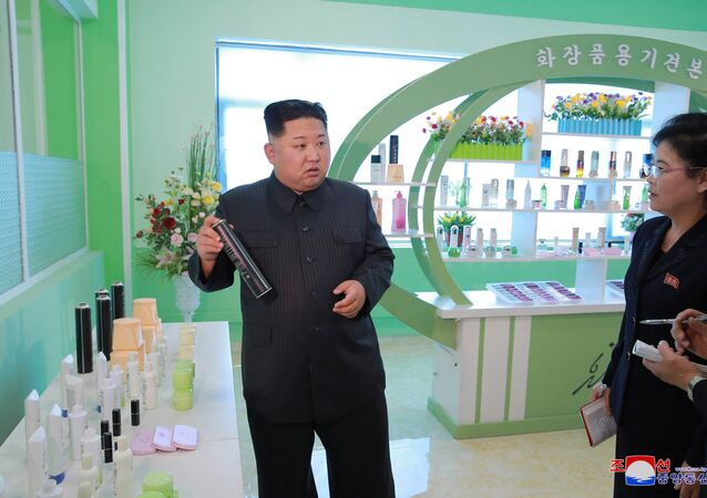 North Korean leader Kim Jong Un visits a cosmetics factory in Pyongyang