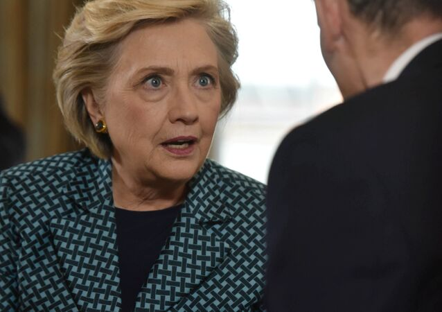 Former US Secretary of State, Hillary Clinton is seen speaking, in this undated photograph received via the BBC, during an interview at Claridge's hotel for the BBC's Andrew Marr Show which was broadcast in London, Britain October 15, 2017.