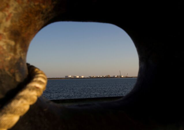 A general view of an oil dock is seen from a ship at the port of Kalantari in the city of Chabahar, 300 km (186 miles) east of the Strait of Hormuz, Iran