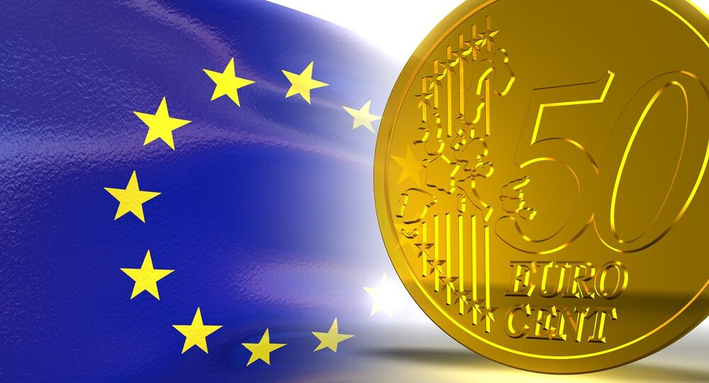Euro currency and EU flag