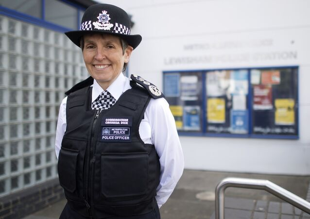 Newly appointed Commissioner of the Metropolitan Police Service Cressida Dick poses for photographers during a press morning outside Lewisham Police Station in south London on April 18, 2017.