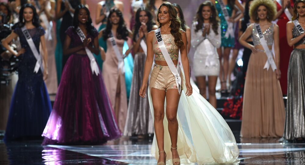 Miss Universe candidate Valeria Piazza of Peru walks on stage during the finals of the Miss Universe at the Mall of Asia Arena in Manila on January 30, 2017.