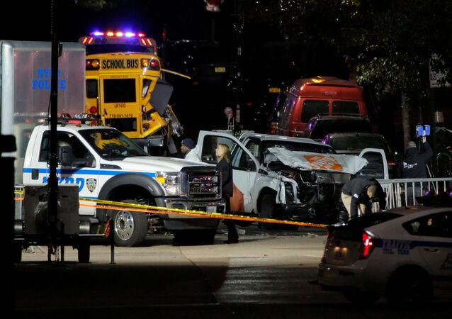 Police investigate a pickup truck used in an attack on the West Side Highway in Manhattan, New York, US, November 1, 2017.