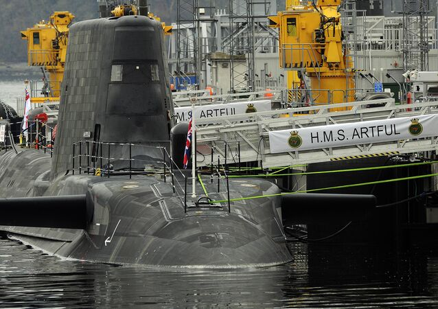 Astute-class submarine HMS Artful is pictured after officially becoming a commissioned warship of the Royal Navy at a ceremony at Faslane Naval Base, Rhu, Scotland on March 18, 2016.