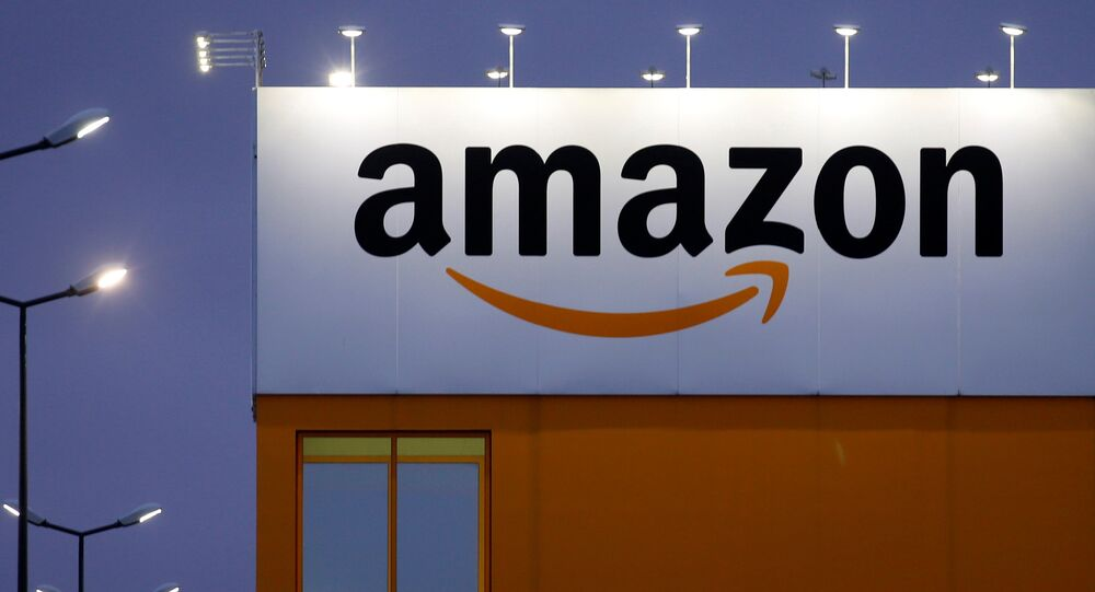 The logo of Amazon is seen at the company logistics center in Lauwin-Planque, northern France, February 20, 2017.