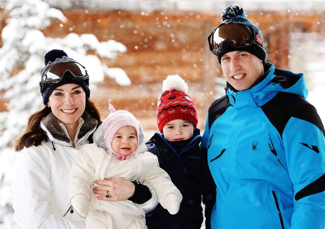 Britain's Prince William, right, and Duchess of Cambridge with their children, Princess Charlotte, center left, and Prince George, enjoy a short private break skiing in the French Alps, Thursday March 3, 2016.